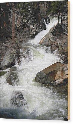 Waterfall Along The Rubicon Trail - Lake Tahoe Wood Print by Patricia Sanders