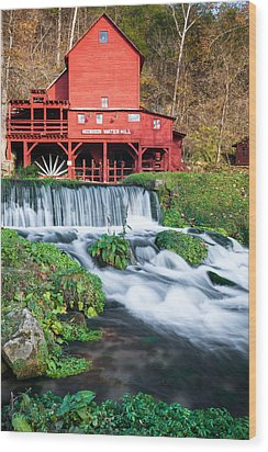 Waterfall And Hodgson Mill - Missouri Wood Print by Gregory Ballos