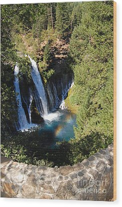 Wood Print featuring the photograph Waterfall And Rainbow 2 by Debra Thompson