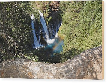 Wood Print featuring the photograph Waterfall And Rainbow 3 by Debra Thompson