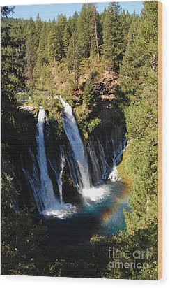 Wood Print featuring the photograph Waterfall And Rainbow by Debra Thompson