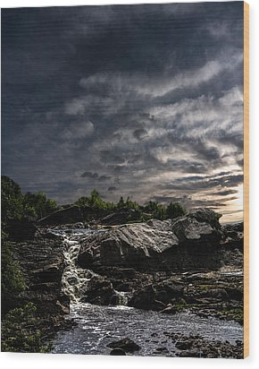Waterfall At Sunrise Wood Print by Bob Orsillo