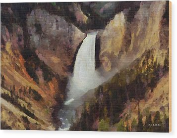 Wood Print featuring the painting Waterfall At Yellowstone National Park by Kai Saarto