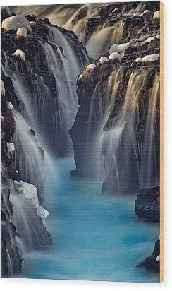 Waterfall Blues Wood Print by Mike Berenson