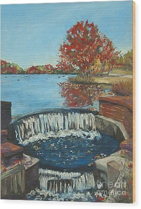 Wood Print featuring the painting Waterfall Brookwood Hall by Susan Herbst