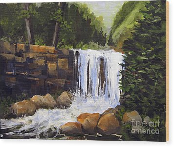 Wood Print featuring the painting Waterfall by Carol Hart