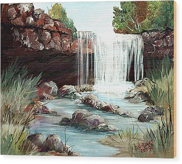 Waterfall Wood Print by Dorothy Maier
