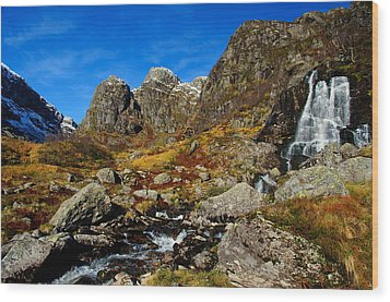 Waterfall In Autumn Mountains Wood Print by Gry Thunes