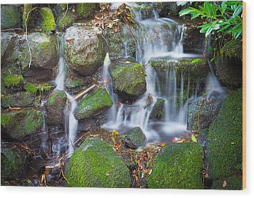 Waterfall In Marlay Park Wood Print by Semmick Photo