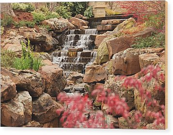 Wood Print featuring the photograph Waterfall In The Garden by Elizabeth Budd