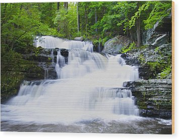 Waterfall In The Pocono Mountains Wood Print by Bill Cannon