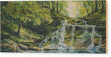 Waterfall In The Woods Wood Print