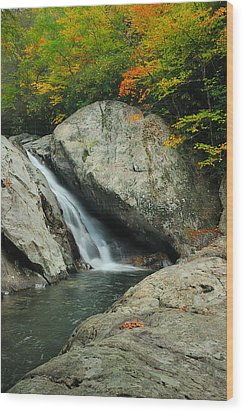 Waterfall In West Fork Of Pigeon River Wood Print by Photography  By Sai