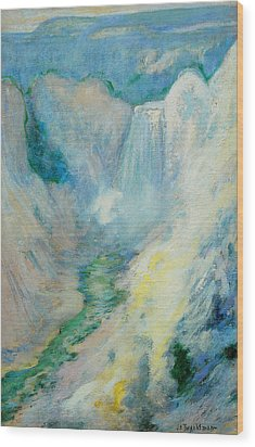 Waterfall In Yellowstone Wood Print by John Henry Twachtman