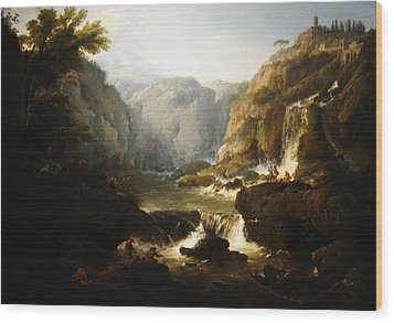 Wood Print featuring the digital art Waterfall by Joseph Vernet