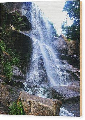 Waterfall  Wood Print by Kiara Reynolds