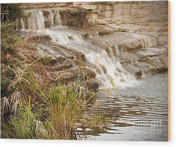 Waterfall Wood Print by Kimberly  Maiden