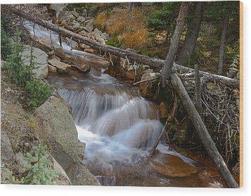 Waterfall Near Breckenridge Wood Print