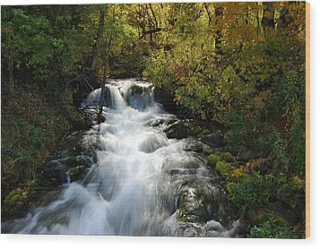 Waterfall On The Little Spearfish Iv Wood Print