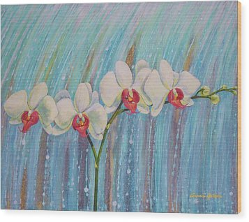 Waterfall Orchid  Wood Print by Bonnie Golden