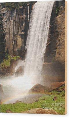 Waterfall Rainbow Wood Print by Mary Carol Story