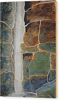 Waterfall Slate Wood Print