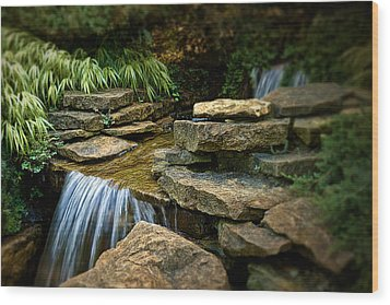 Waterfall Wood Print by Tom Mc Nemar