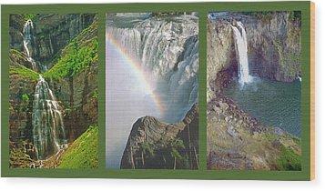Waterfall Triptych Wood Print by Steve Ohlsen