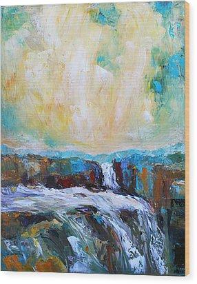 Waterfalls 2 Wood Print by Becky Kim