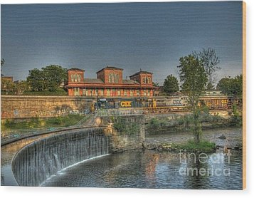 Waterfalls And Train Wood Print by Jim Lepard
