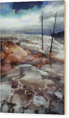Wood Print featuring the digital art Waterfalls At Yellowstone by Kai Saarto