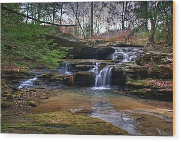 Waterfalls Cascading Wood Print