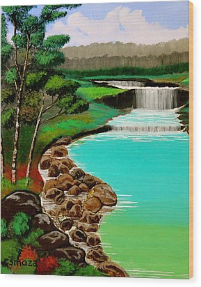 Wood Print featuring the painting Waterfalls by Cyril Maza