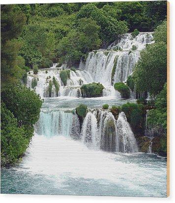 Waterfalls Of Plitvice Wood Print by Ramona Johnston