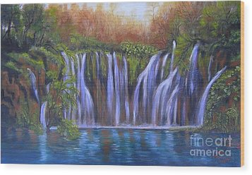 Wood Print featuring the painting Waterfalls - Plitvice Lakes by Vesna Martinjak