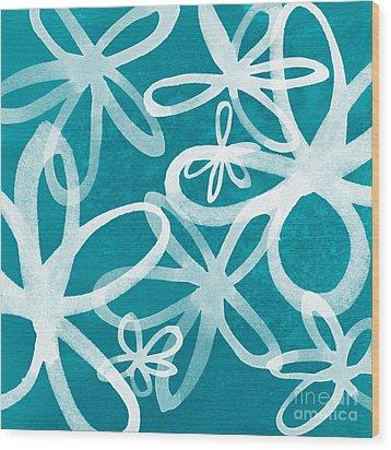 Waterflowers- Teal And White Wood Print by Linda Woods