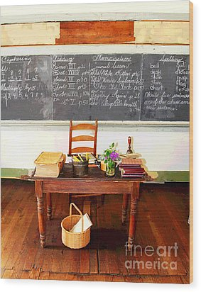 Waterford School Teacher's Desk Wood Print by Larry Oskin