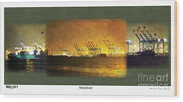 Wood Print featuring the digital art Waterfront by Kenneth De Tore