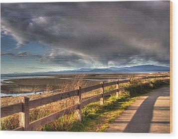 Waterfront Walkway Wood Print by Randy Hall
