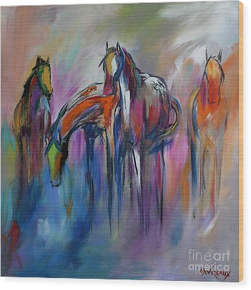 Watering Hole Wood Print by Cher Devereaux