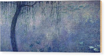 Waterlilies Two Weeping Willows Wood Print by Claude Monet