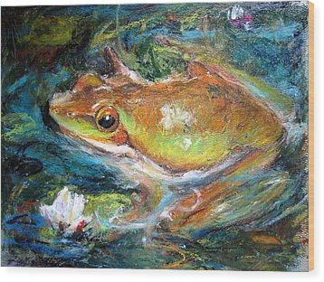Wood Print featuring the painting Waterlily And Frog by Jieming Wang