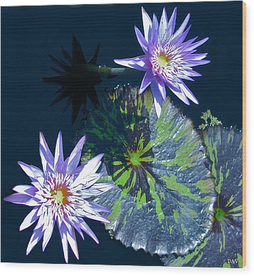 Waterlily And Pads Wood Print by Debra     Vatalaro
