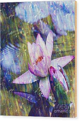 Purple Waterlily Paradise Wood Print