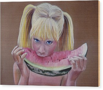 Watermelon Bite Wood Print by Colleen Gallo