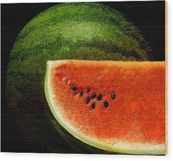 Wood Print featuring the digital art Watermelon by David Blank