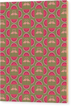 Watermelon Flamingo Print Wood Print by Susan Claire