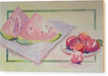 Watermelon Wood Print by Marilyn Zalatan