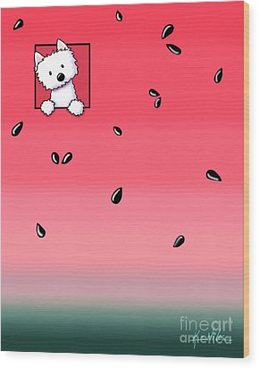 Watermelon Westie Wood Print by Kim Niles