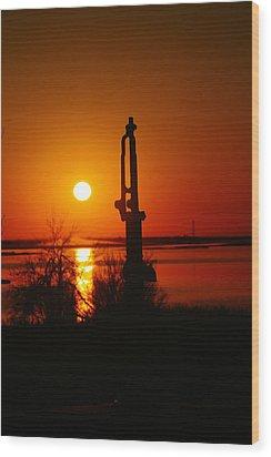 Waterpump In The Sunrise Wood Print by Jeff Swan
